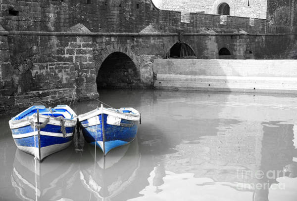 Photograph - Black And White Harbour With Two Blue Boats by Deborah Benbrook