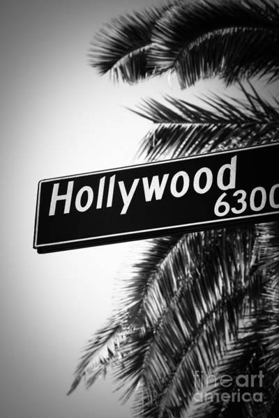 Street Sign Photograph - Black And White Hollywood Street Sign by Paul Velgos