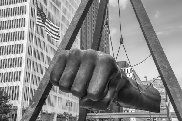 Black And White Joe Louis Fist And Flag Art Print