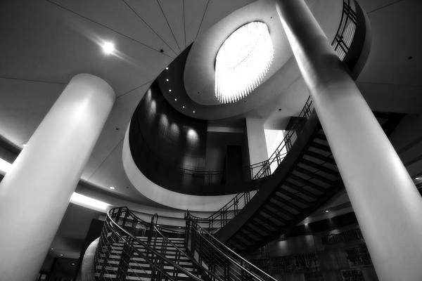 Country Music Hall Of Fame Wall Art - Photograph - Black And White Lobby Staircase by Dan Sproul