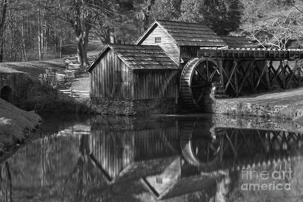 Photograph - Black And White Mabry Mill Pond Reflections by Adam Jewell