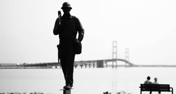 Michilimackinac Wall Art - Photograph - Black And White Mackinac Bridge by Dan Sproul