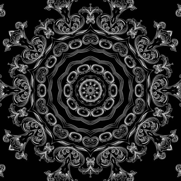 Mixed Media - Black And White Medallion 2 by Angelina Tamez