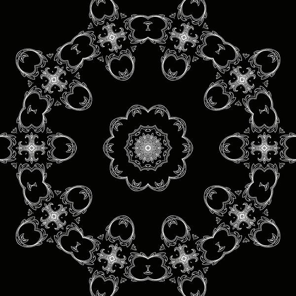 Mixed Media - Black And White Medallion 3 by Angelina Tamez