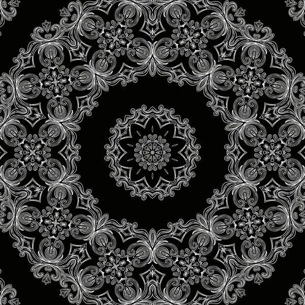 Mixed Media - Black And White Medallion 6 by Angelina Tamez