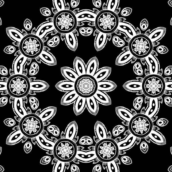 Mixed Media - Black And White Medallion 8 by Angelina Tamez