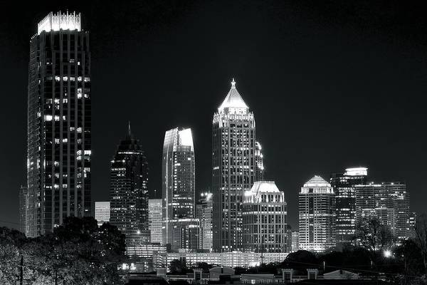 Wall Art - Photograph - Black And White Night In Atlanta by Frozen in Time Fine Art Photography
