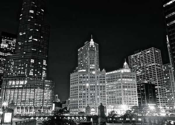 Oprah Wall Art - Photograph - Black And White Night In Chicago by Frozen in Time Fine Art Photography