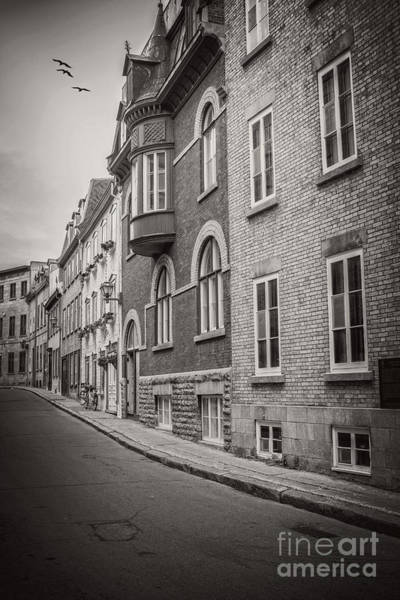 Quebec City Photograph - Black And White Old Style Photo Of Old Quebec City by Edward Fielding