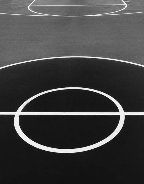 Photograph - Black And White On The Basketball Court by Gary Slawsky