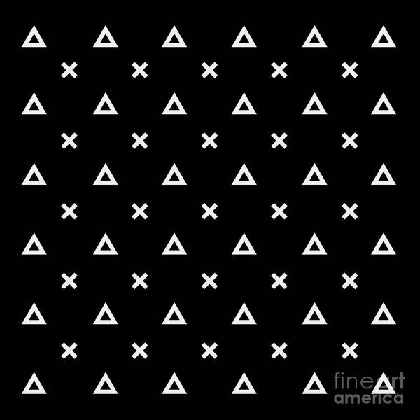 Triangle Digital Art - Black And White Pattern Background by Kbibibi