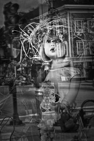 Photograph - Black And White Photograph Of A Child Mannequin In Shop Display Window by Randall Nyhof