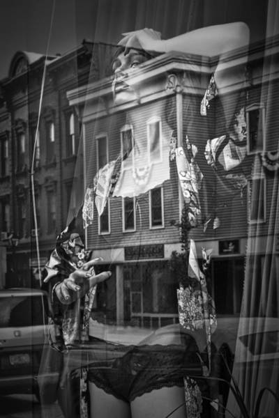 Photograph - Black And White Photograph Of A Mannequin In Lingerie In Storefront Window Display  by Randall Nyhof
