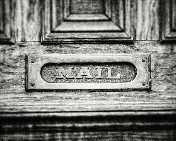 Mail Slot Photograph - Black And White Photograph Of Vintage Mail Slot by Lisa Russo