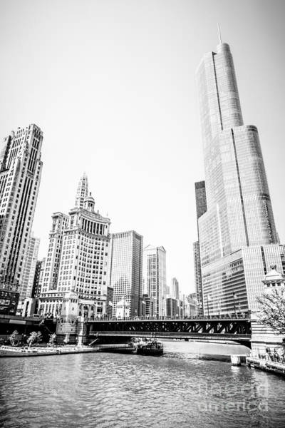 Wabash Avenue Wall Art - Photograph - Black And White Picture Of Chicago River Architecture by Paul Velgos