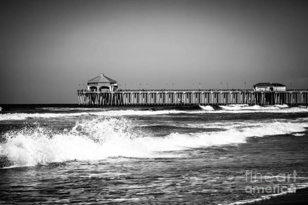 Huntington Beach Photograph - Black And White Picture Of Huntington Beach Pier by Paul Velgos