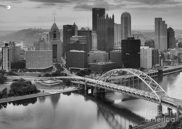 Photograph - Black And White Pittsburgh Sunrise by Adam Jewell