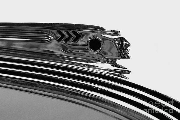 Photograph - Black And White Pontiac Indian Hood Ornament 2 by Doc Braham