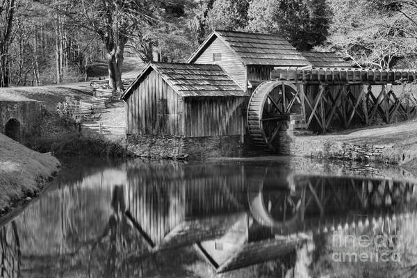 Photograph - Black And White Reflections Of The Mabry Mill by Adam Jewell