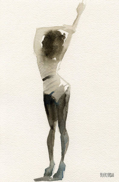 Sepia Painting - Black And White Stripes Watercolor Fashion Woman Art Print  by Beverly Brown