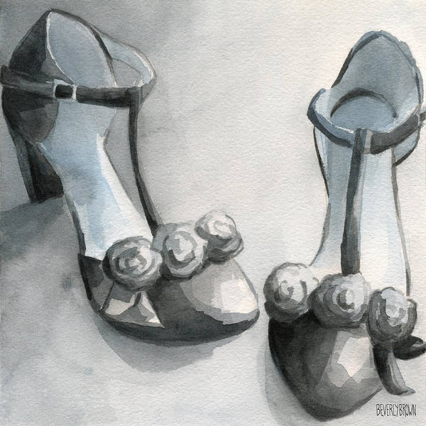 Gray Painting - Black And White T Strap Shoe Painting by Beverly Brown