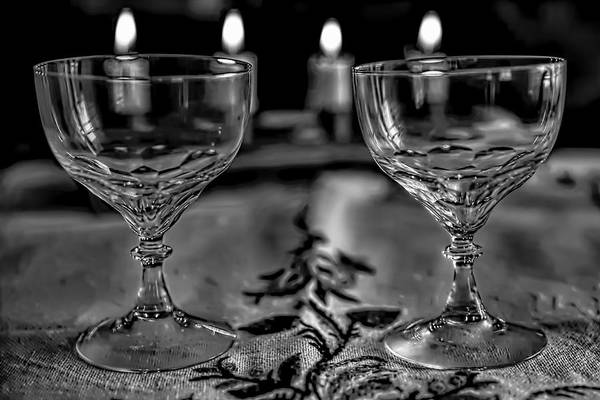 Photograph - Black And White Two #glasses And Four #lights by Leif Sohlman