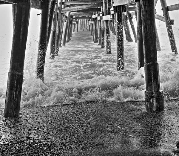 Under The Pier Photograph - Black And White Under The Pier by Richard Cheski