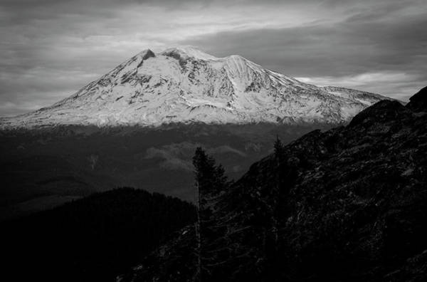 Mt. Adams Photograph - Black And White View Of A Snow Caped by Richard Hallman