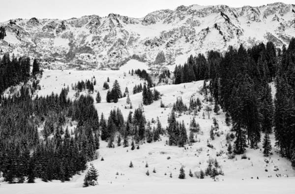 Photograph - Black And White Winter Scene In The Alps by Matthias Hauser