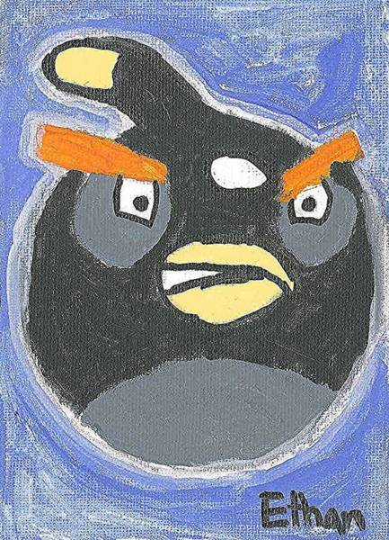 Painting - Black Angry Bird by Fred Hanna