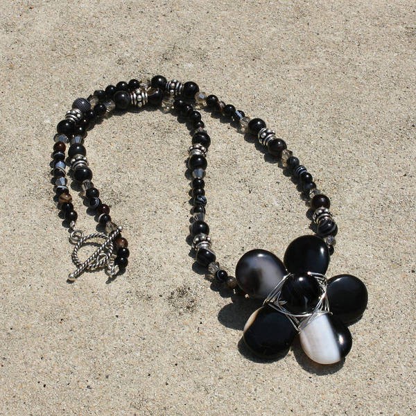 Sterling Silver Jewelry Wall Art - Jewelry - Black Banded Onyx Wire Wrapped Flower Pendant Necklace 3634 by Teresa Mucha