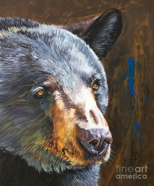 Painting - Black Bear The Messenger by J W Baker