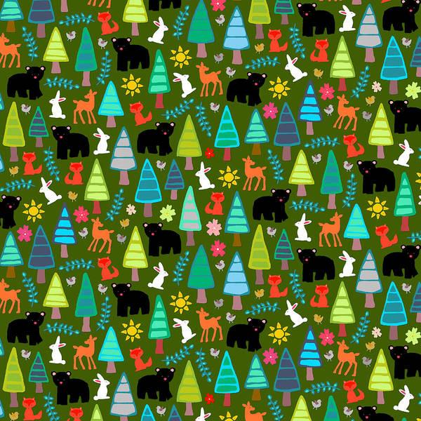 Wild Flowers Drawing - Black Bear Woodland by MGL Meiklejohn Graphics Licensing
