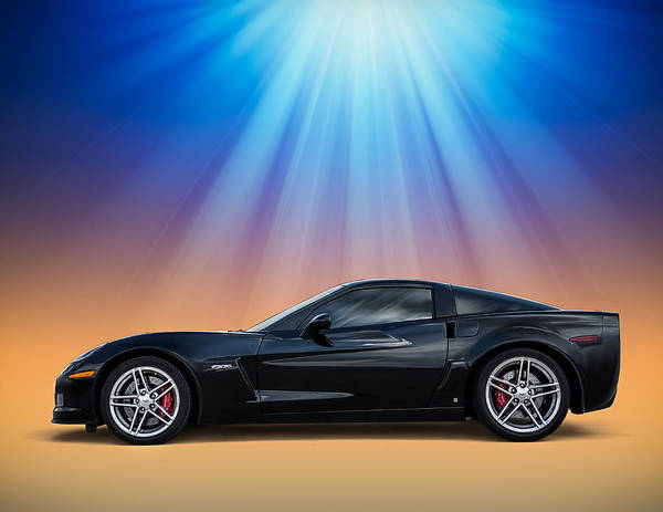 Corvette Wall Art - Digital Art - Black C6 by Douglas Pittman