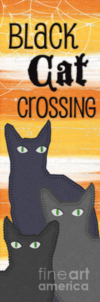 Wall Art - Painting - Black Cat Crossing by Linda Woods