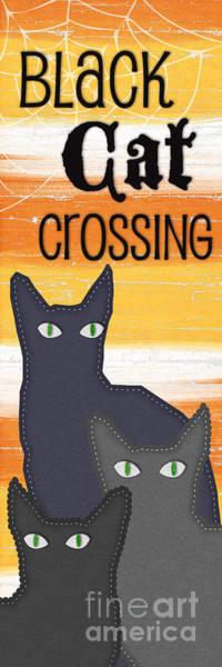 Halloween Painting - Black Cat Crossing by Linda Woods