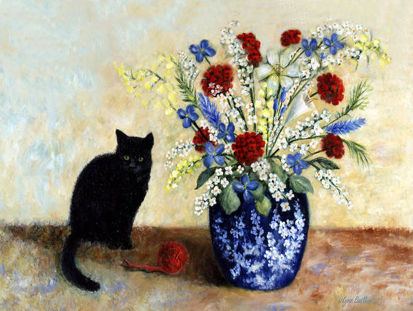 Painting - Black Cat by Lynn Buettner