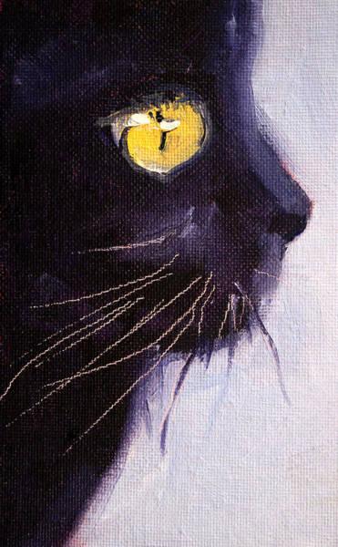 Wall Art - Painting - Black Cat by Nancy Merkle