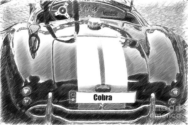 Photograph - Black Cn Cobra Classic Car Sketch by Heiko Koehrer-Wagner
