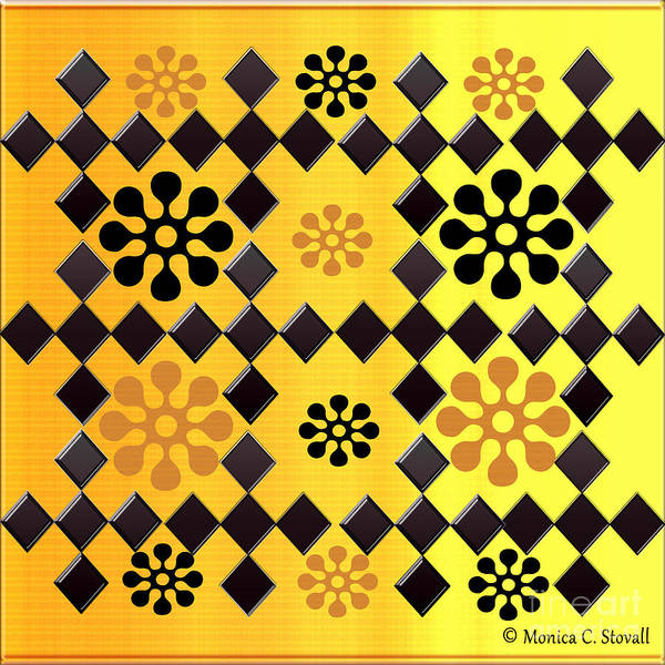 Digital Art - Black Diamonds And Orange Flowers On Gradient Yellow by Monica C Stovall