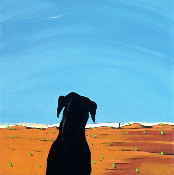 Barren Painting - Black Dog In Chestertown, 1998 by Marjorie Weiss