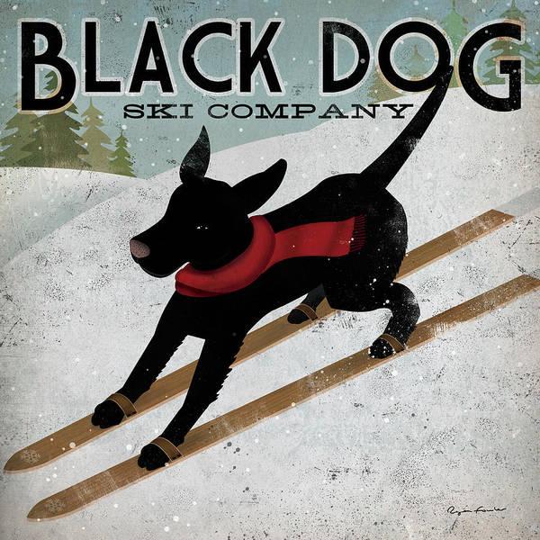 Snow Ski Wall Art - Painting - Black Dog Ski by Ryan Fowler
