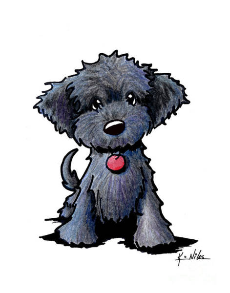 Wall Art - Drawing - Black Doodle Puppy by Kim Niles