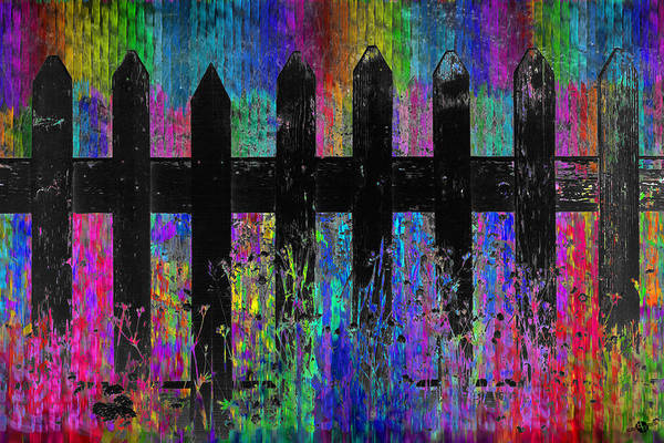 Neighborhood Painting - Black Fence 2 by Tony Rubino