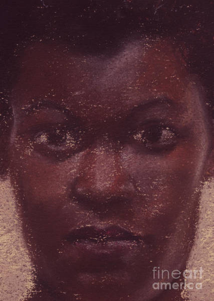 Pastel - Black Girl Portrait Close Up by Russell Kightley