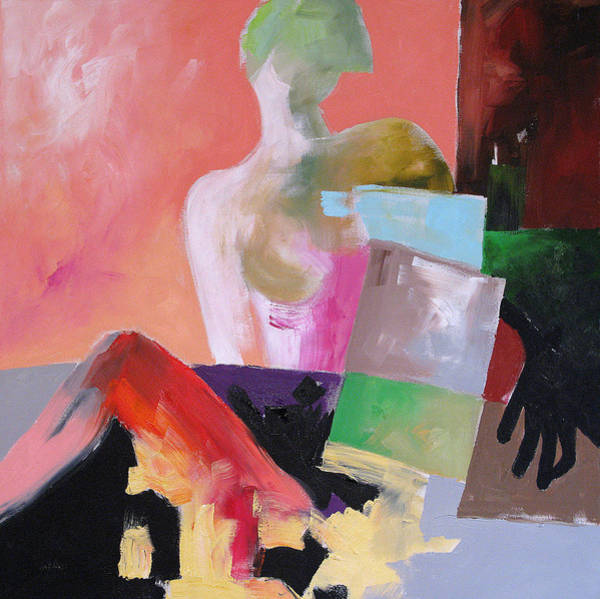 Abstract Portrait Painting - Black Glove 2 by Linda Monfort