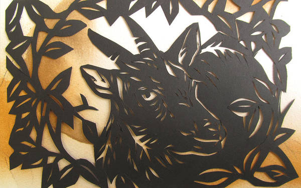 Cut-out Mixed Media - Black Goat Cut Out by Alfred Ng