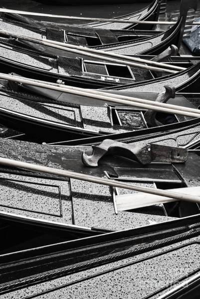 Gondola Photograph - Black Gondolas by Delphimages Photo Creations