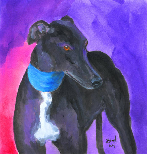 Black Greyhound Watercolor Art Print by Mary Jo Zorad