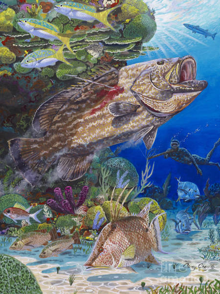Spear Wall Art - Painting - Black Grouper Hole by Carey Chen